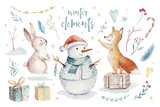 Watercolor gold Merry Christmas illustration with snowman, christmas tree , holiday cute animals fox, rabbit and hedgehog . Christmas celebration cards. Winter new year design. - 227838714