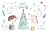 Watercolor gold Merry Christmas illustration with snowman, christmas tree , holiday cute animals fox, rabbit and hedgehog . Christmas celebration cards. Winter new year design. - 227838736