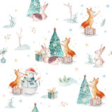 Watercolor Merry Christmas seamless patterns with gift, snowman, holiday cute animals fox, rabbit and hedgehog. Christmas tree celebration paper. Winter new year design. - 227839103