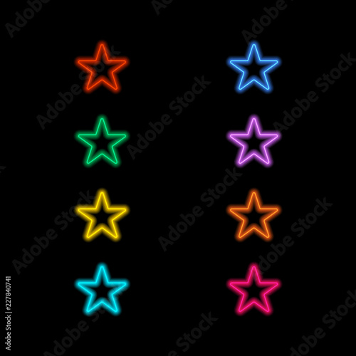 Neon stars on a black background. Vector illustration .