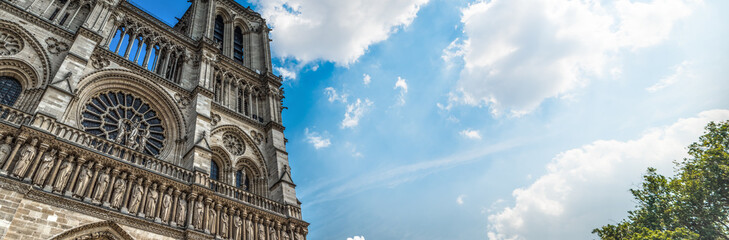 World famous Notre Dame cathedral under a cloudy sky