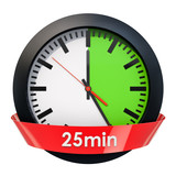Clock face with 25 minutes timer. 3D rendering