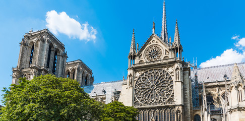 Right side of world famous Notre Dame cathedral in Paris