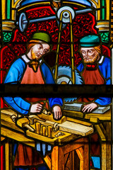 Stained Glass - Carpenters at Work