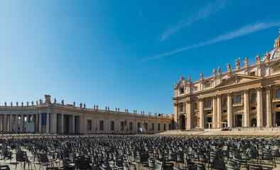 World famous Saint Peters square under a shining sun