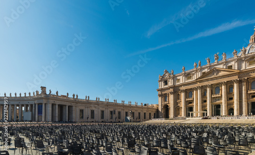 World famous Saint Peters square under a shining sun