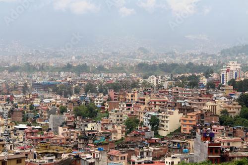 Miasto Kathmandu, widziane z Swayambhunath Stupa na wzgórzu