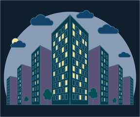 City landscape view at night, high buildings with lights in windows, clouds, trees, modern residential and tenement house in the evening, linear outline style, vector concept