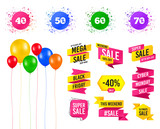 Balloons party. Sales banners. Sale discount icons. Special offer price signs. 40, 50, 60 and 70 percent off reduction symbols. Birthday event. Trendy design. Vector - 227848710