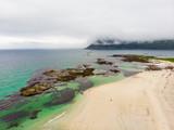 Skagsanden Beach on Flakstadoy island, Lofoten Norway - 227850518