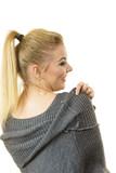 Woman wearing gray long top sweater tunic