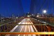 Quadro New York skyline, Brooklyn Bridge traffic at night, Manhattan buildings and skyscrapers
