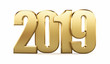 New 2019 year golden  figures isolated on white background. 3D rendered Illustration for advertising.