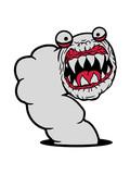 boden loch hässlich monster fressen zähne gefährlich horror halloween alien wurm comic cartoon clipart design cool raupe regenwurm schlange klein ekelig regen - 227860150