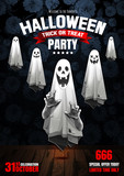 Halloween Party, Ghost, treat or trick, Vector illustration, Vertical Poster, you can place relevant content on the area. - 227864937