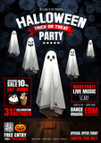 Halloween Party, Ghost, treat or trick, Vector illustration, Vertical Poster, you can place relevant content on the area. - 227865309