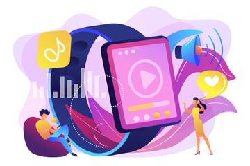 Smartwatch player concept vector illustration.