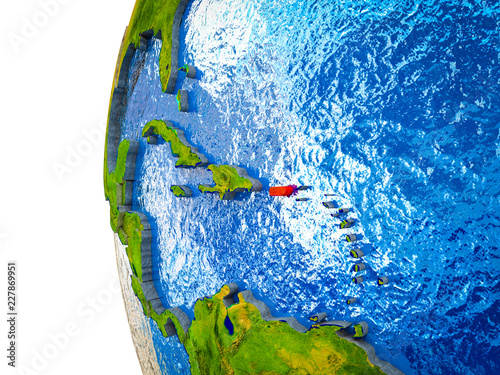 Puerto Rico Highlighted On 3d Earth With Visible Countries And