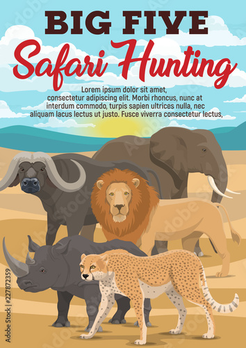 Poster African safari hunting sport, animals