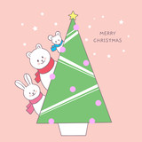 Cartoon cute Christmas animals and Christmas tree vector.