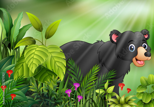 Poster Nature scene with black bear cartoon