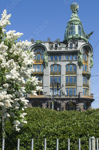 Poster St. Petersburg, the house of singer, white lilac blooms in the spring