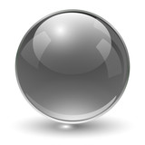 Glass sphere, black vector ball.