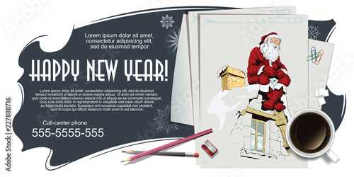 Collage on theme christmas and new year. Stock illustration. - 227888716