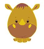 Funny little rhino with egg shaped head