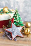 Vintage christmas decoration on wooden surface. Christmas background. Copy space. - 227889518