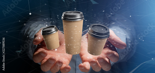 Wall mural Group of cardbox coffee cup with connection 3d rendering