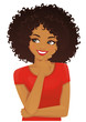 Thinking african american woman with afro hairstyle looking away isolated on white background