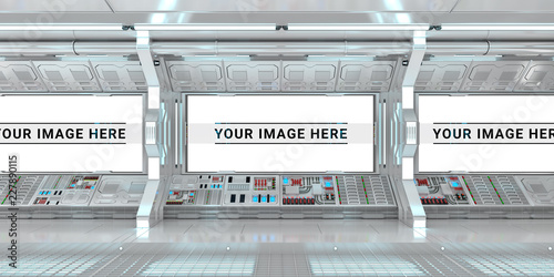 White spaceship interior with large window view 3D rendering