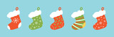 Set, collection of vector colorful cartoon style christmas stocking, sock-shaped bag for winter holidays design. - 227893561
