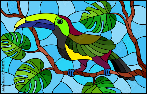illustration-in-stained-glass-style-bird-toucan-on-branch-tropical-tree-against-the-sky