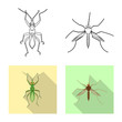 Isolated object of insect and fly icon. Set of insect and element vector icon for stock.