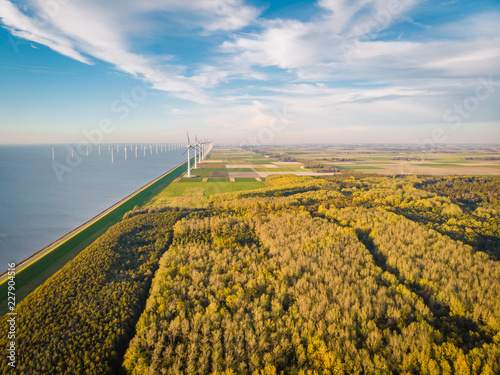 windmill park by the ocean netherlands drone shote from above with autumn trees