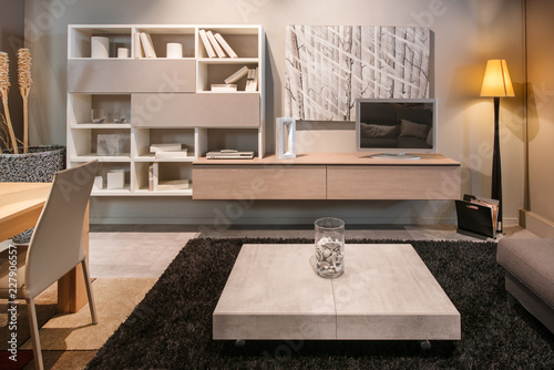 Modern living room interior with dining table © photology1971