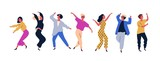 Fototapety Group of young happy dancing people or male and female dancers isolated on white background. Smiling young men and women enjoying dance party. Colorful vector illustration in flat cartoon style.