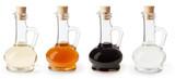 White, apple cider and balsamic vinegar in glass bottles isolated on white background - 227907988