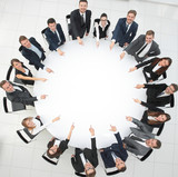 business team indicates the center of the round table. - 227908388
