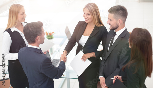 Fridge magnet handshake Manager and the client after signing the contract