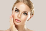 Beautiful eyes lashes woman with blonde hair beautiful and healthy skin woman - 227917522