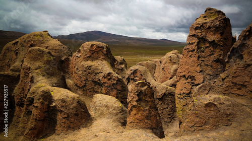 sandstone rock formation at Imata in Salinas and Aguada Blanca National Reservation, Arequipa, Peru