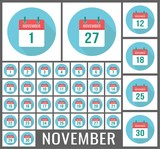 November calendar icon reminder. Vector page, holidays. 1, 2, 3, 4, 5, 6, 7, 8, 9, 10, 11, 12, 13, 14, 15, 16, 17, 18, 19, 20, 21, 22, 23, 24, 25, 26, 27, 28, 29 and 30 number ot the month - 227927579