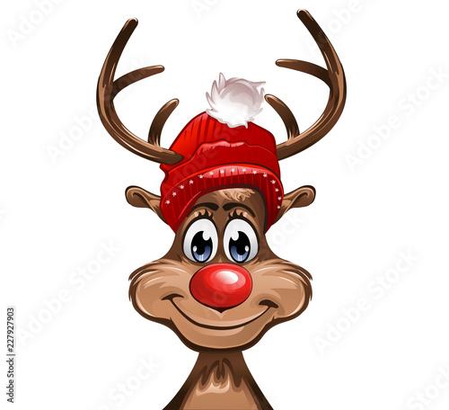 Rudolph mit einer roten Mütze und roter Nase
