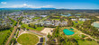 Aerial panorama of Lilydale suburb and mountains on bright sunny day. Melbourne, Australia