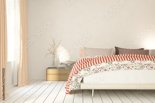 Mock up of white modern bedroom. Scandinavian interior design. 3D illustration