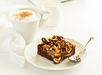 chocolate brownie with caramel.