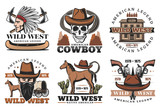 Wild West icons, cowboy and horses - 227934593